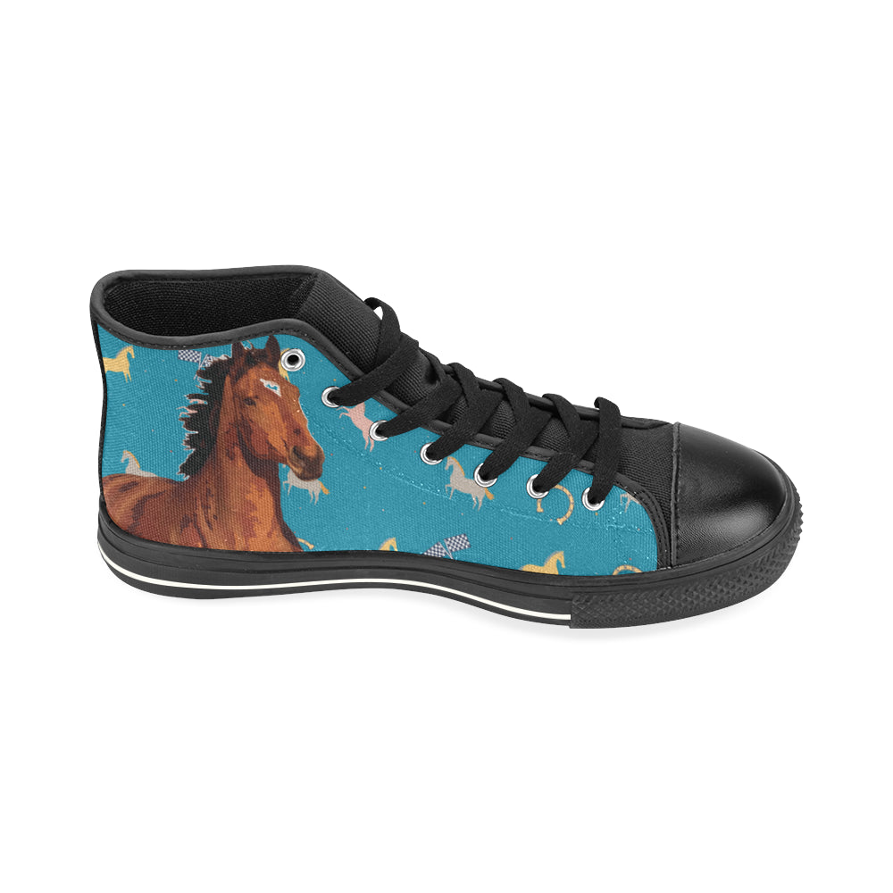 Horse Black High Top Canvas Women's Shoes/Large Size - TeeAmazing