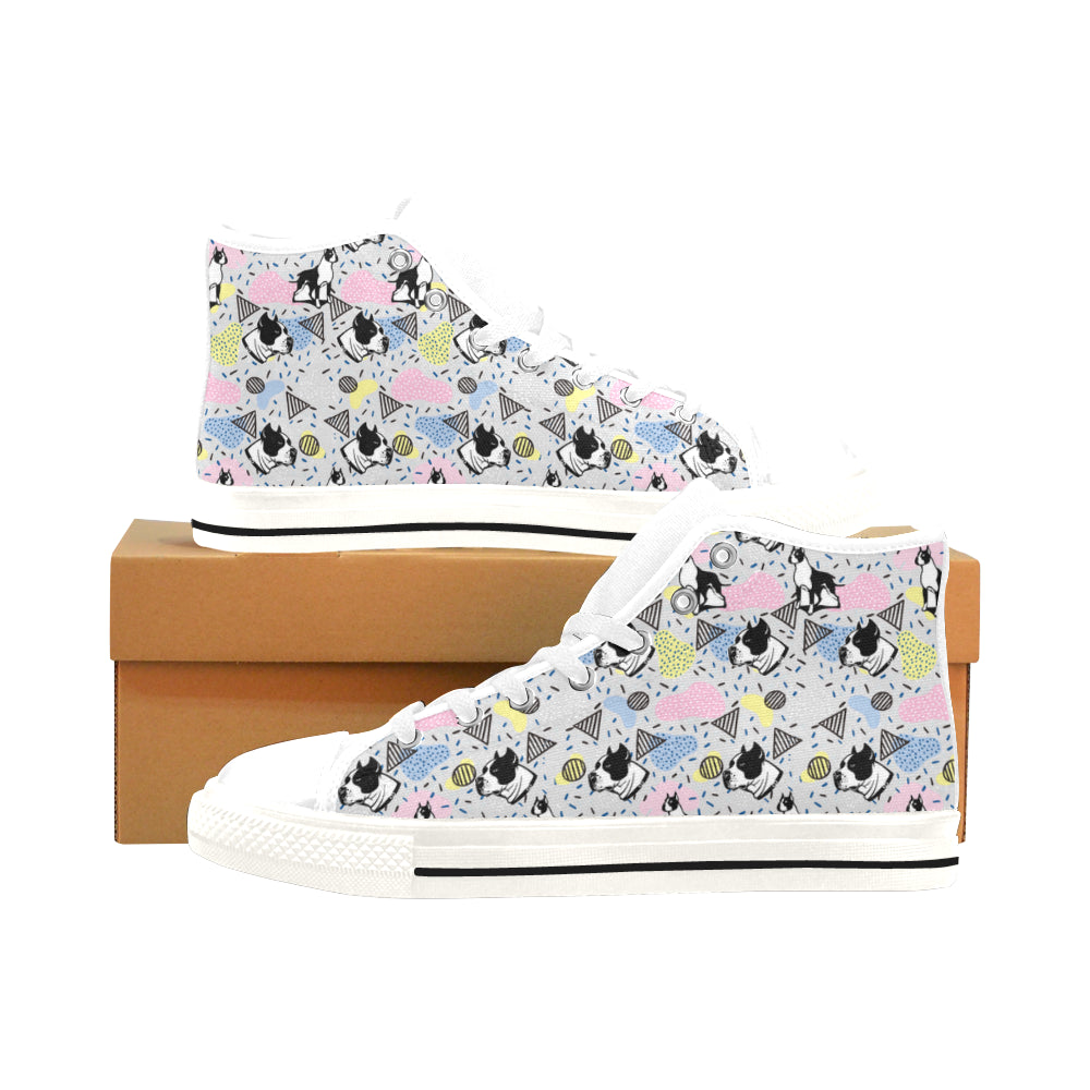 American Staffordshire Terrier Pattern White Men's Classic High Top Canvas Shoes /Large Size - TeeAmazing