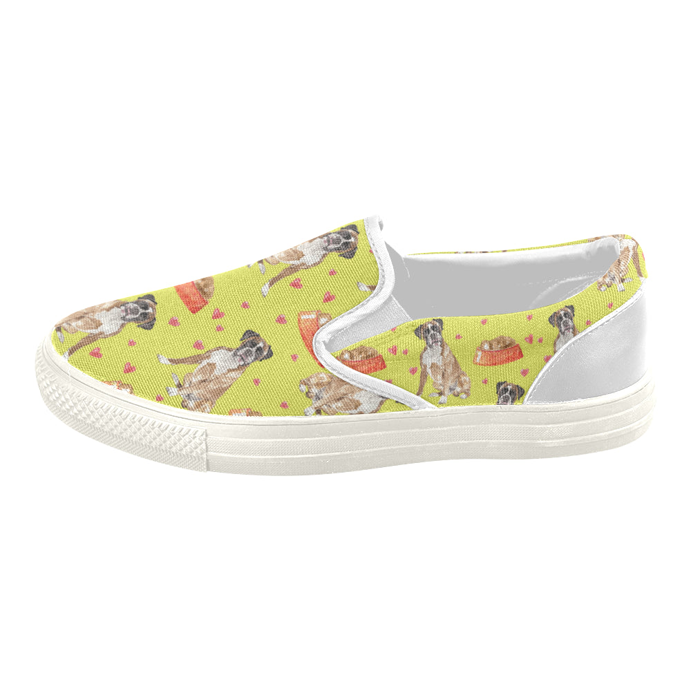 Boxer Water Colour Pattern No.2 White Women's Slip-on Canvas Shoes - TeeAmazing