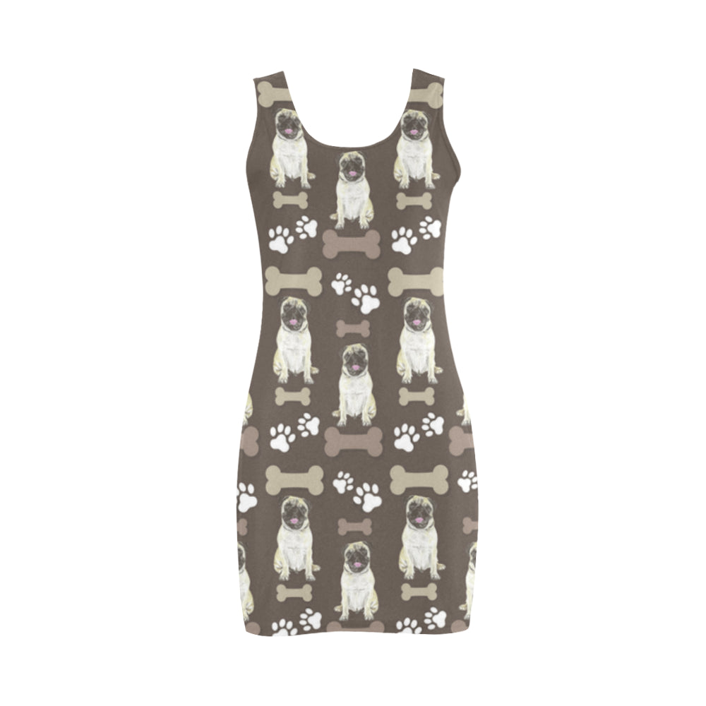 Pug Water Colour Pattern No.1 Medea Vest Dress - TeeAmazing