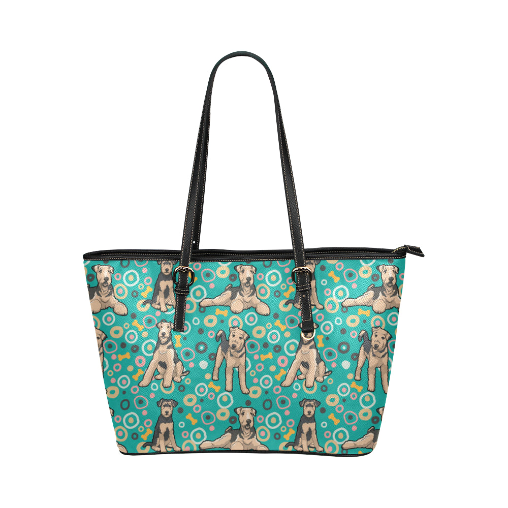 Airedale-Terrier Pattern Leather Tote Bag/Small - TeeAmazing