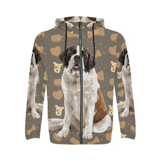 St. Bernard Dog All Over Print Full Zip Hoodie for Men (Model H14) - TeeAmazing