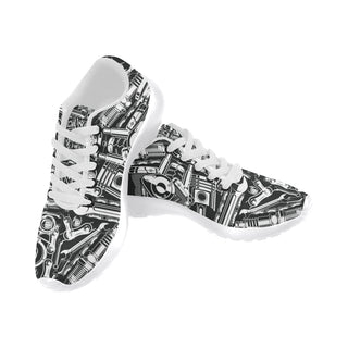 Biker Engine White Sneakers for Men - TeeAmazing