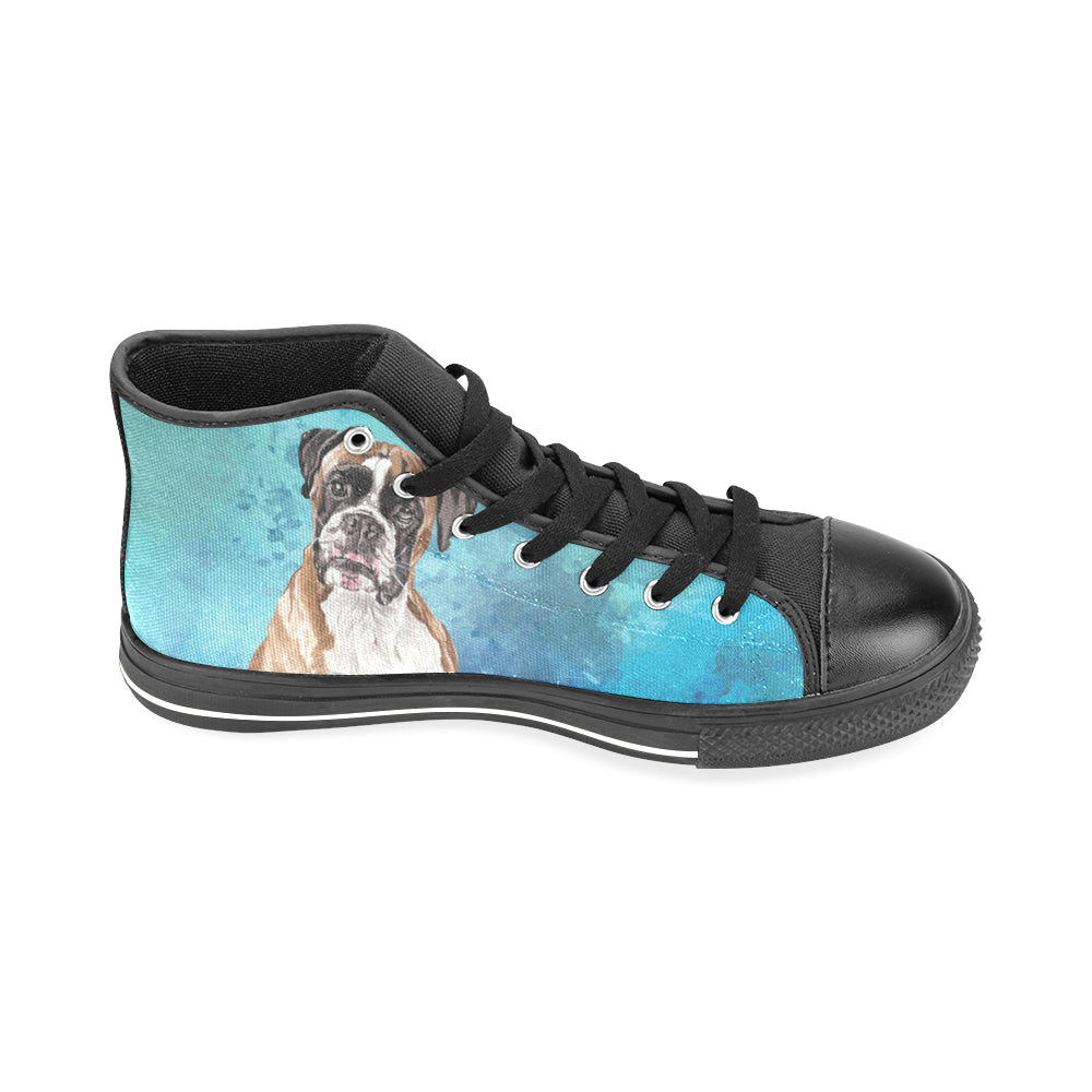 Boxer Water Colour Black Men's Classic High Top Canvas Shoes /Large Size (Model 017) - TeeAmazing