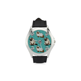 Himalayan Cat Women's Classic Leather Strap Watch - TeeAmazing