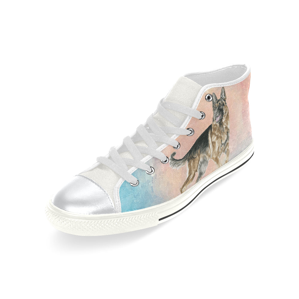 German Shepherd Water Colour No.1 White High Top Canvas Shoes for Kid - TeeAmazing