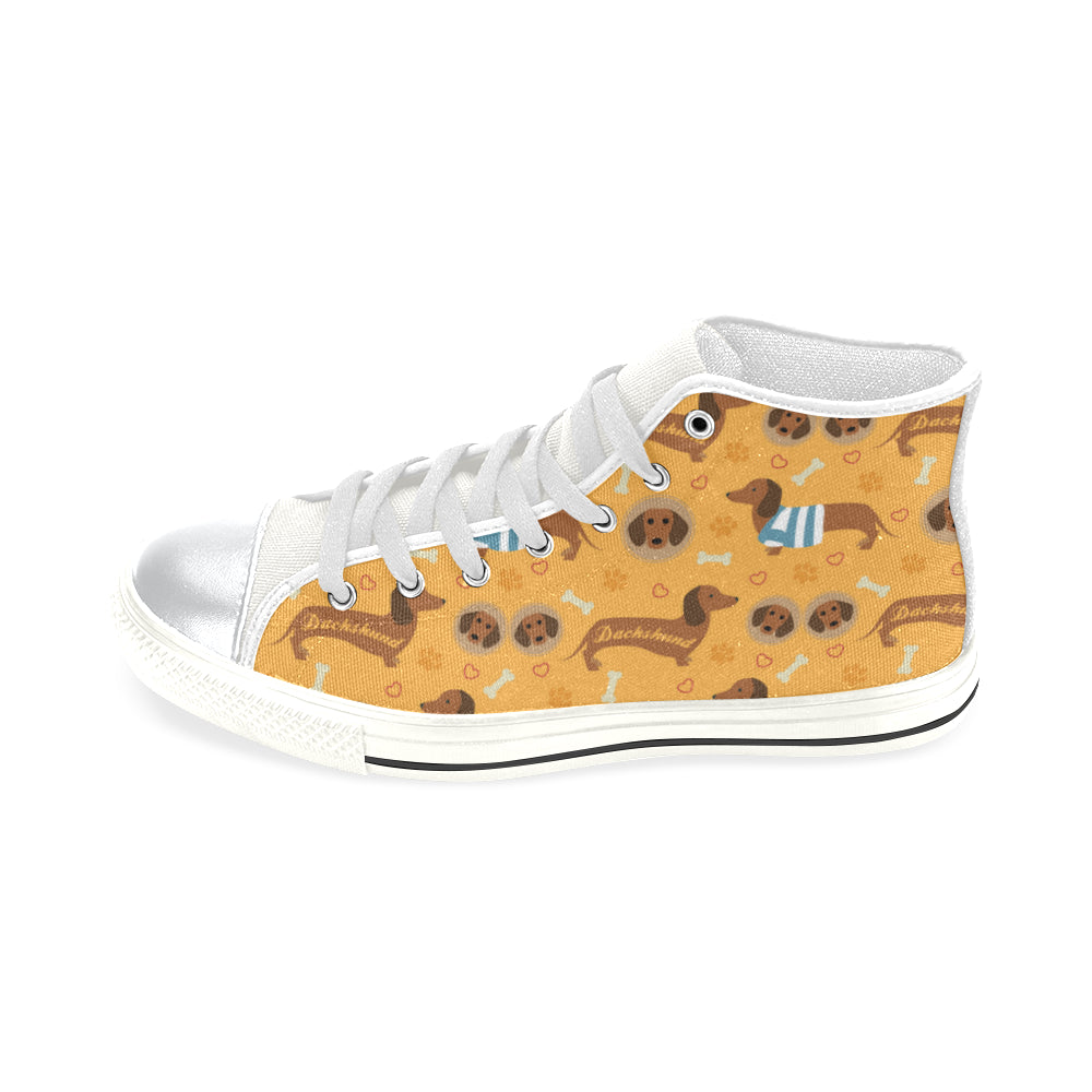 Dachshund Pattern White High Top Canvas Shoes for Kid - TeeAmazing