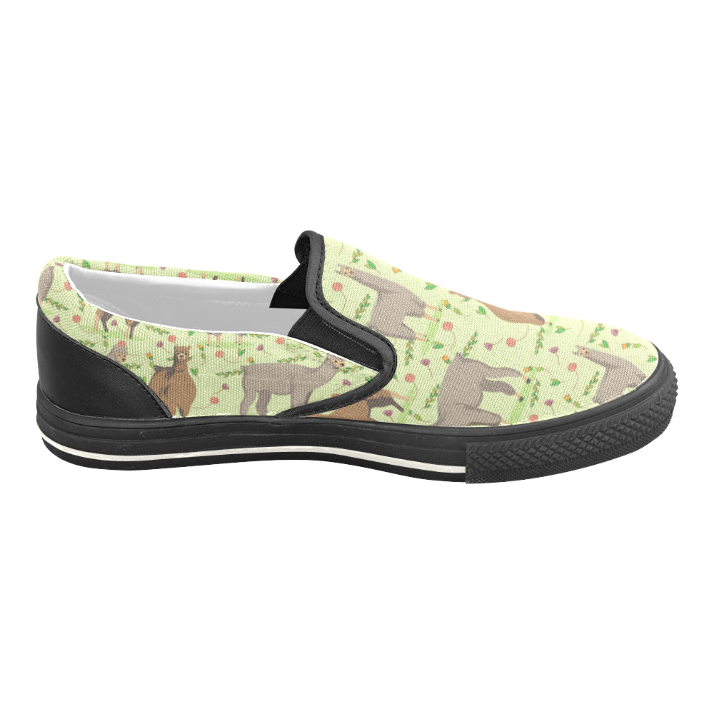 llama Black Women's Slip-on Canvas Shoes/Large Size (Model 019) - TeeAmazing