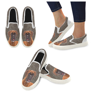 Boxer Lover White Women's Slip-on Canvas Shoes