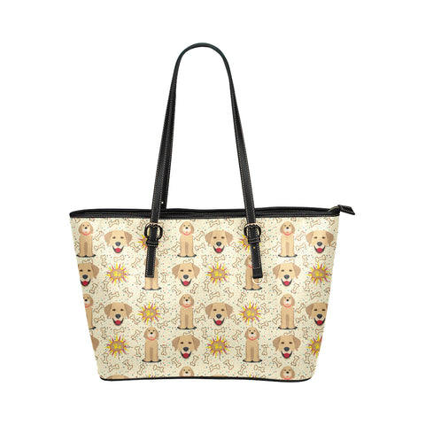 Golden Retriever Pattern Leather Tote Bag/Small (Model 1651) - TeeAmazing