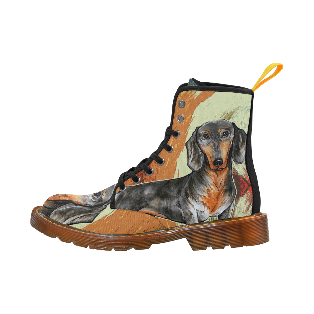Dachshund Drawing Black Boots For Women - TeeAmazing 7329e3923
