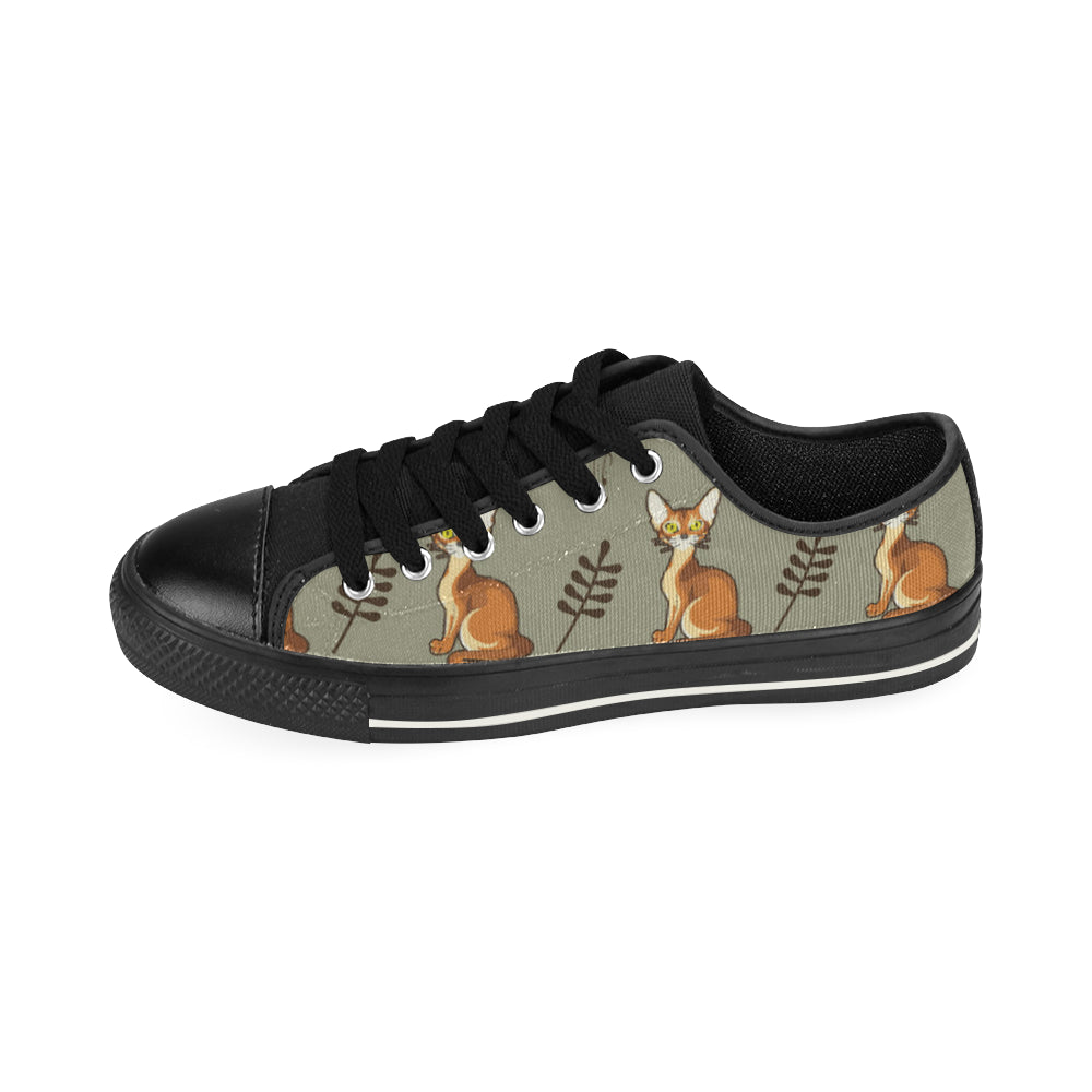 Abyssinian Black Low Top Canvas Shoes for Kid (Model 018) - TeeAmazing