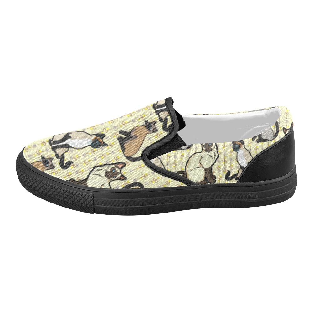Siamese Black Women's Slip-on Canvas Shoes - TeeAmazing
