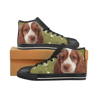 Sprocker Dog Black Men's Classic High Top Canvas Shoes /Large Size (Model 017) - TeeAmazing