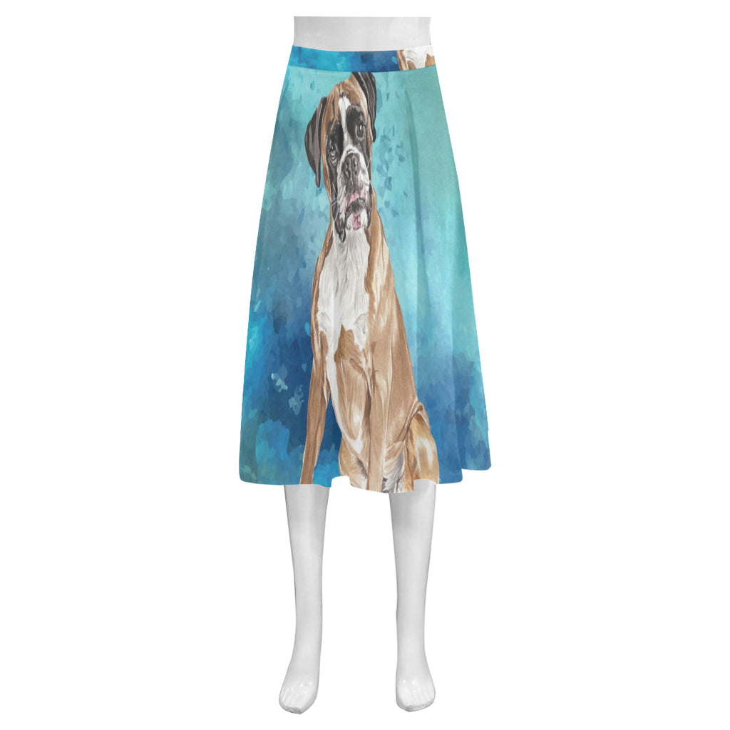 Boxer Water Colour Mnemosyne Women's Crepe Skirt (Model D16) - TeeAmazing