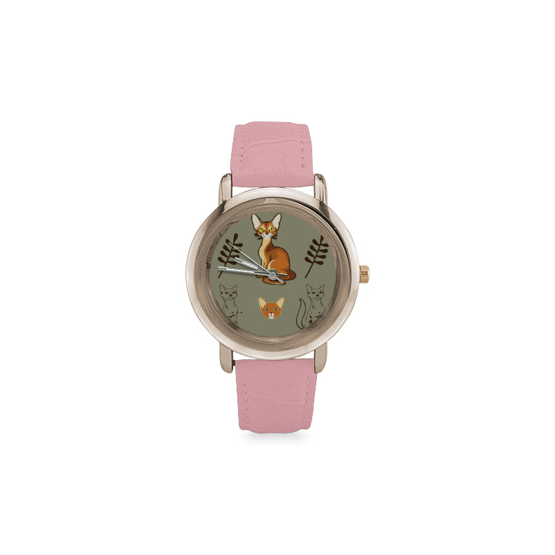 Abyssinian Women's Rose Gold Leather Strap Watch - TeeAmazing