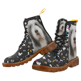 Bearded Collie Dog Black Martin Boots For Women - TeeAmazing