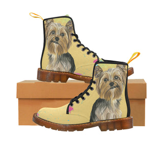 Yorkshire Terrier Water Colour No.1 Black Martin Boots For Women - TeeAmazing