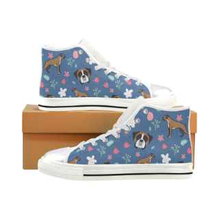 Boxer Flower White High Top Canvas Women's Shoes/Large Size (Model 017) - TeeAmazing