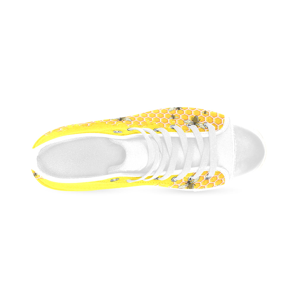 Bee Pattern White Men's Classic High Top Canvas Shoes /Large Size - TeeAmazing