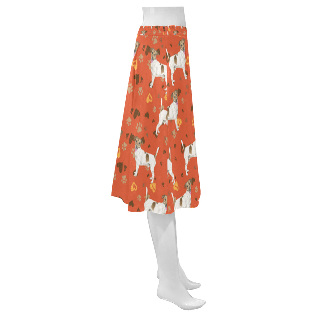 Jack Russell Terrier Water Colour Pattern No.1 Mnemosyne Women's Crepe Skirt (Model D16) - TeeAmazing
