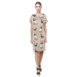 Pug Flower Short Sleeves Casual Dress - TeeAmazing