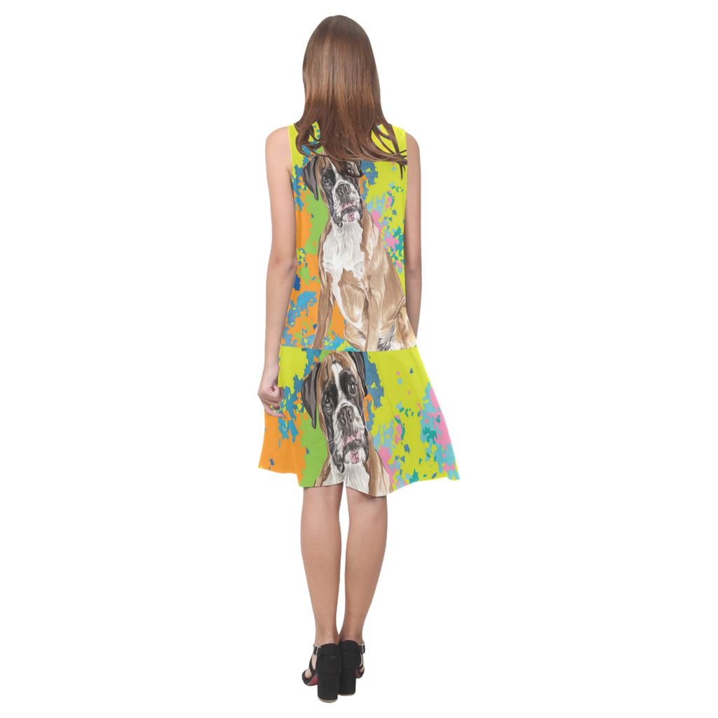 Boxer Water Colour No.2 Sleeveless Splicing Shift Dress - TeeAmazing