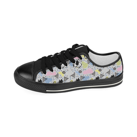 American Staffordshire Terrier Pattern Black Women's Classic Canvas Shoes - TeeAmazing