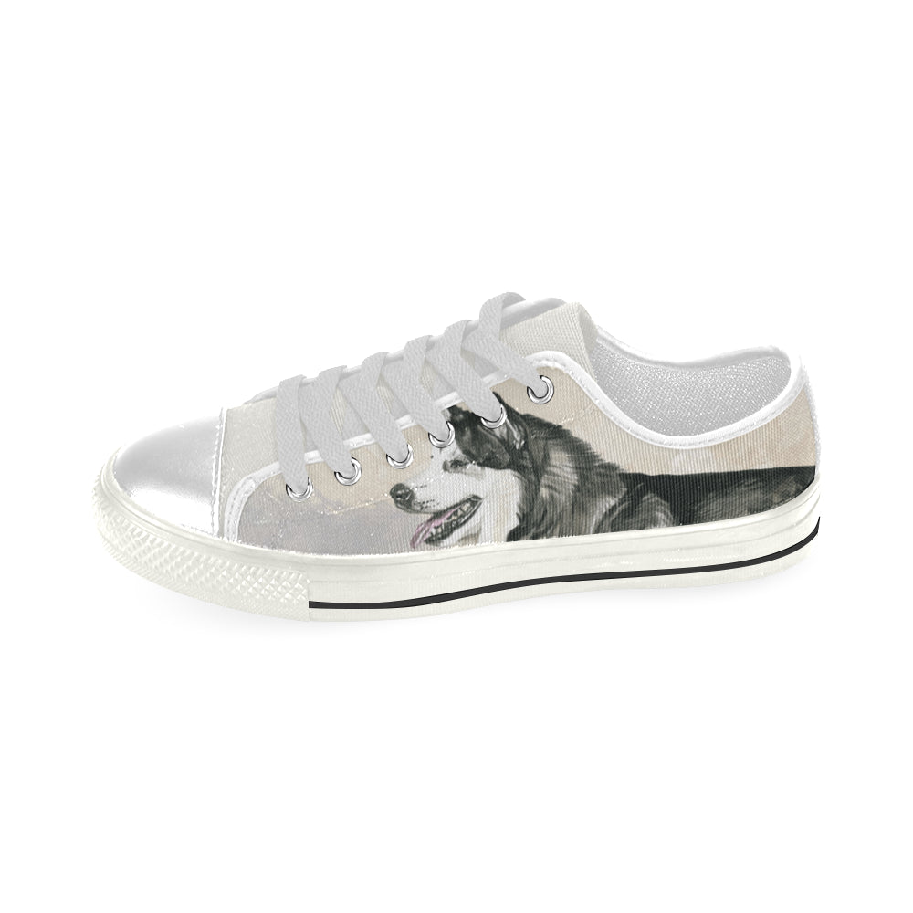 Alaskan Malamute Water Colour White Low Top Canvas Shoes for Kid - TeeAmazing