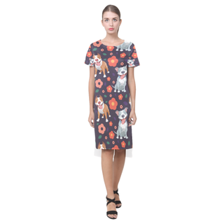 Pit bull Flower Short Sleeves Casual Dress - TeeAmazing