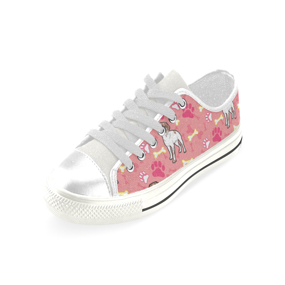 Brittany Spaniel Pattern White Low Top Canvas Shoes for Kid - TeeAmazing