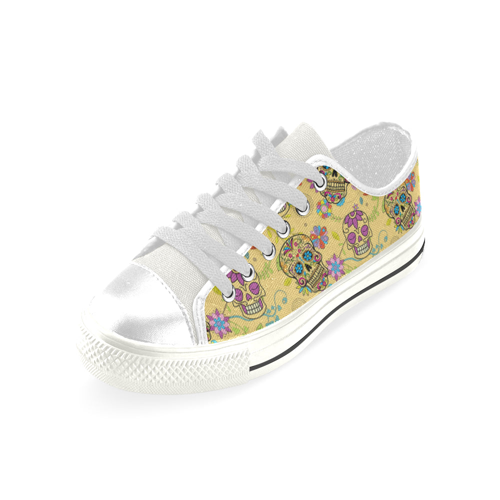 Sugar Skull White Low Top Canvas Shoes for Kid - TeeAmazing