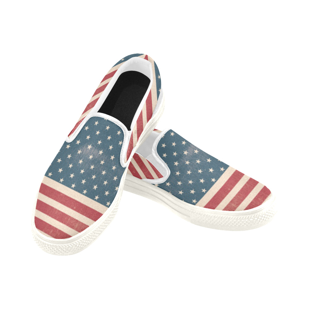 4th July V2 White Women's Slip-on Canvas Shoes - TeeAmazing
