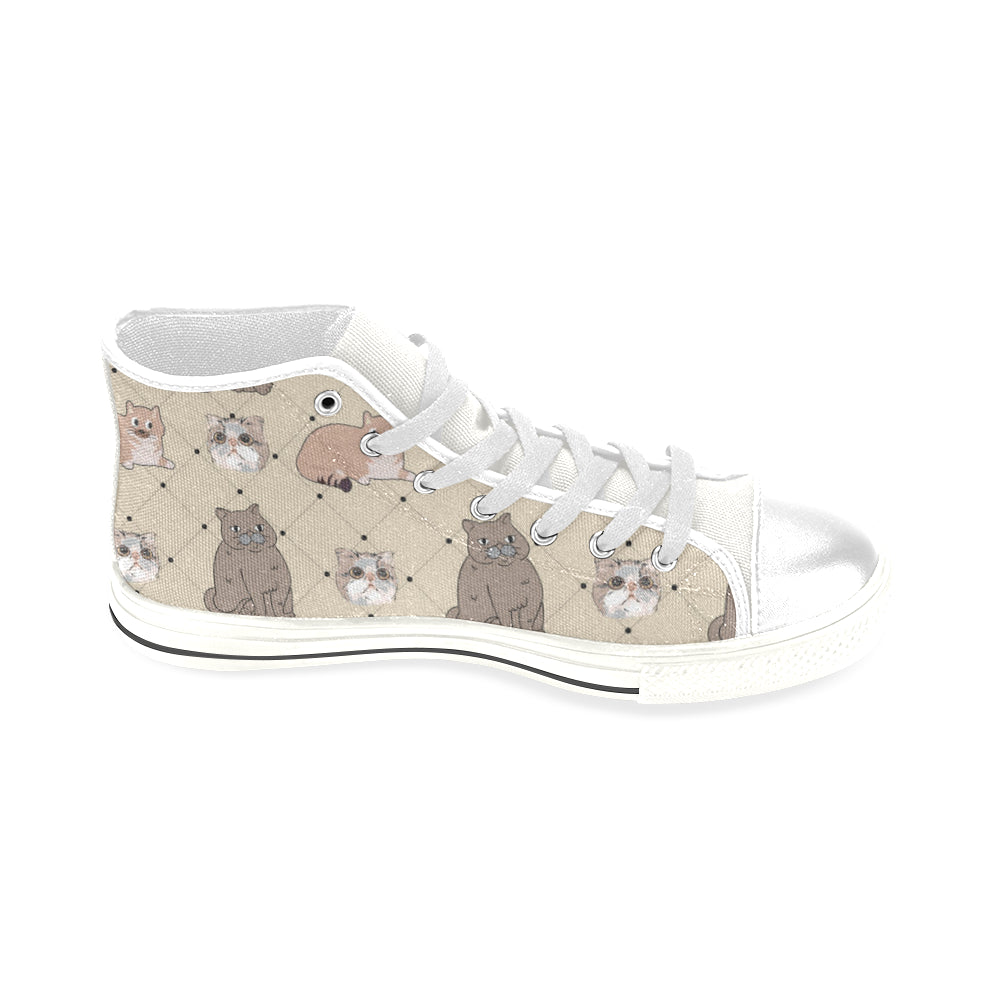 Exotic Shorthair White Men's Classic High Top Canvas Shoes (Model 017) - TeeAmazing