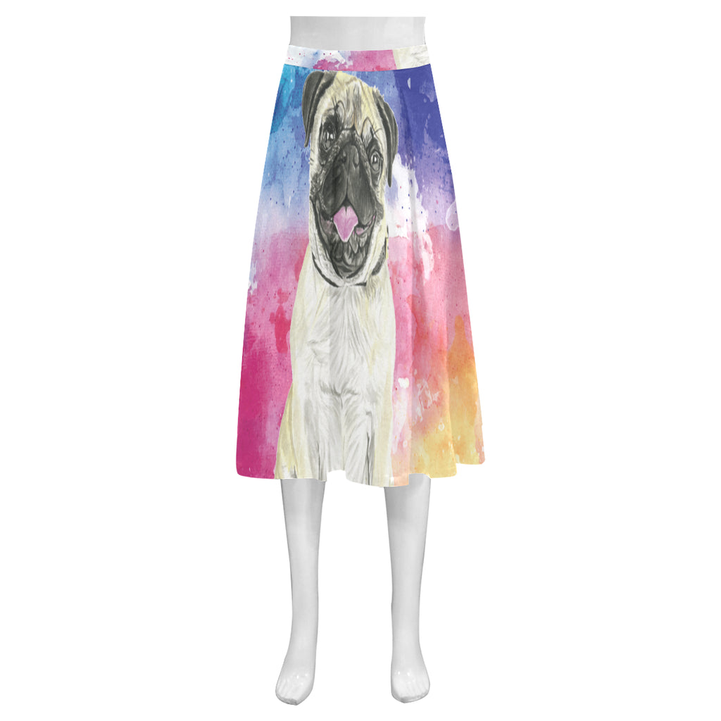 Pug Water Colour No.1 Mnemosyne Women's Crepe Skirt (Model D16) - TeeAmazing