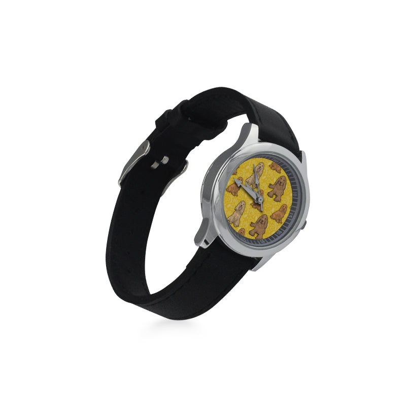 Cocker Spaniel Kid's Stainless Steel Leather Strap Watch - TeeAmazing