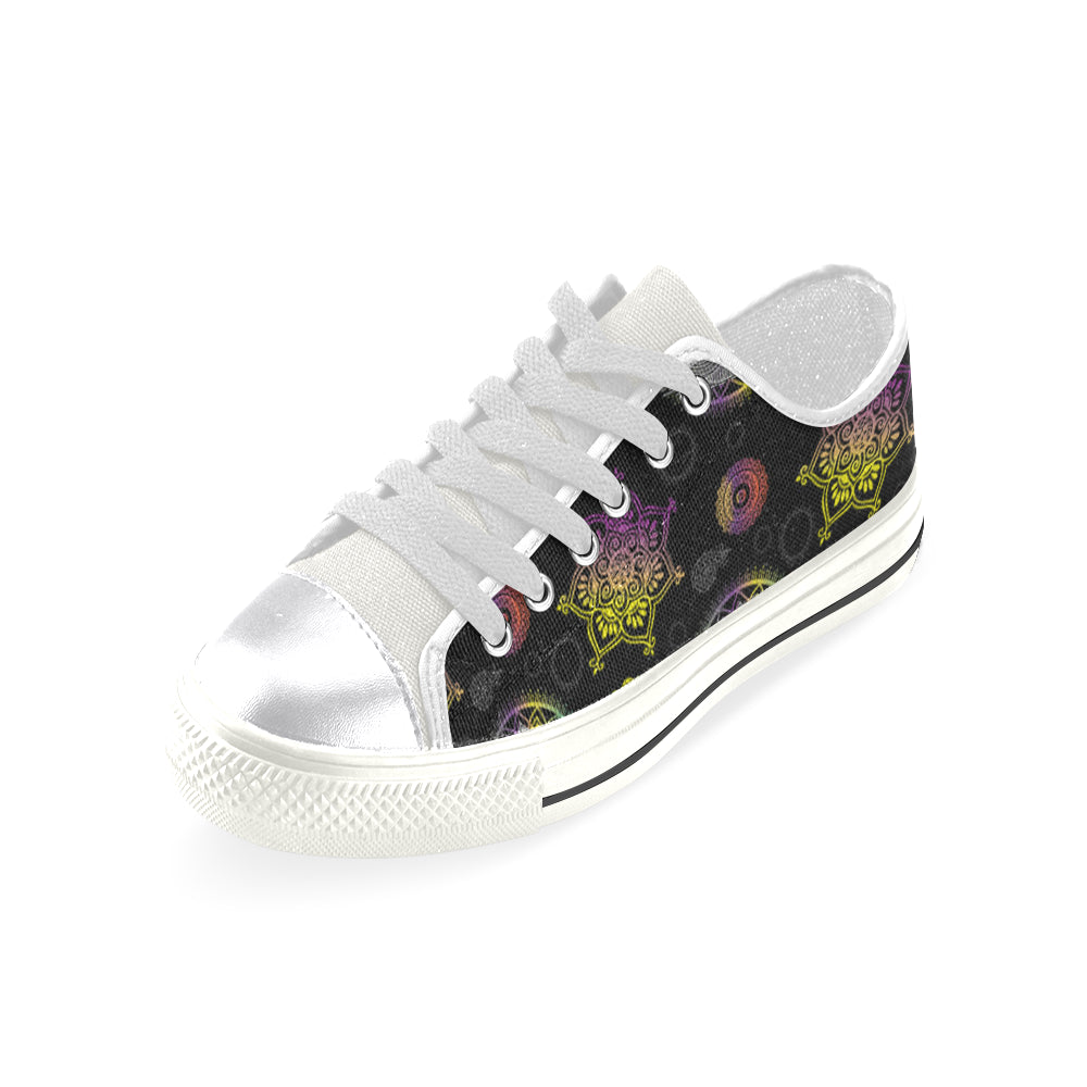 Lotus and Mandalas White Women's Classic Canvas Shoes - TeeAmazing