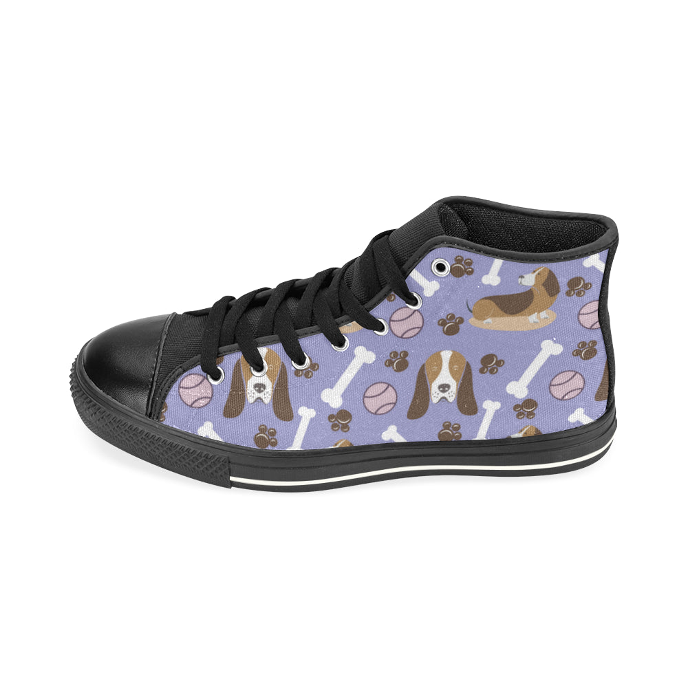 Basset Hound Pattern Black High Top Canvas Shoes for Kid - TeeAmazing