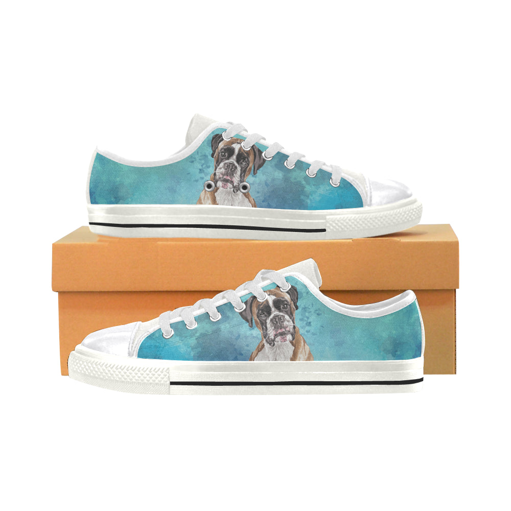 Boxer Water Colour White Women's Classic Canvas Shoes - TeeAmazing