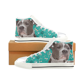 Staffordshire Bull Terrier White High Top Canvas Shoes for Kid - TeeAmazing