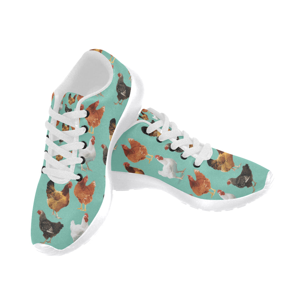 Chicken Pattern White Sneakers Size 13-15 for Men - TeeAmazing