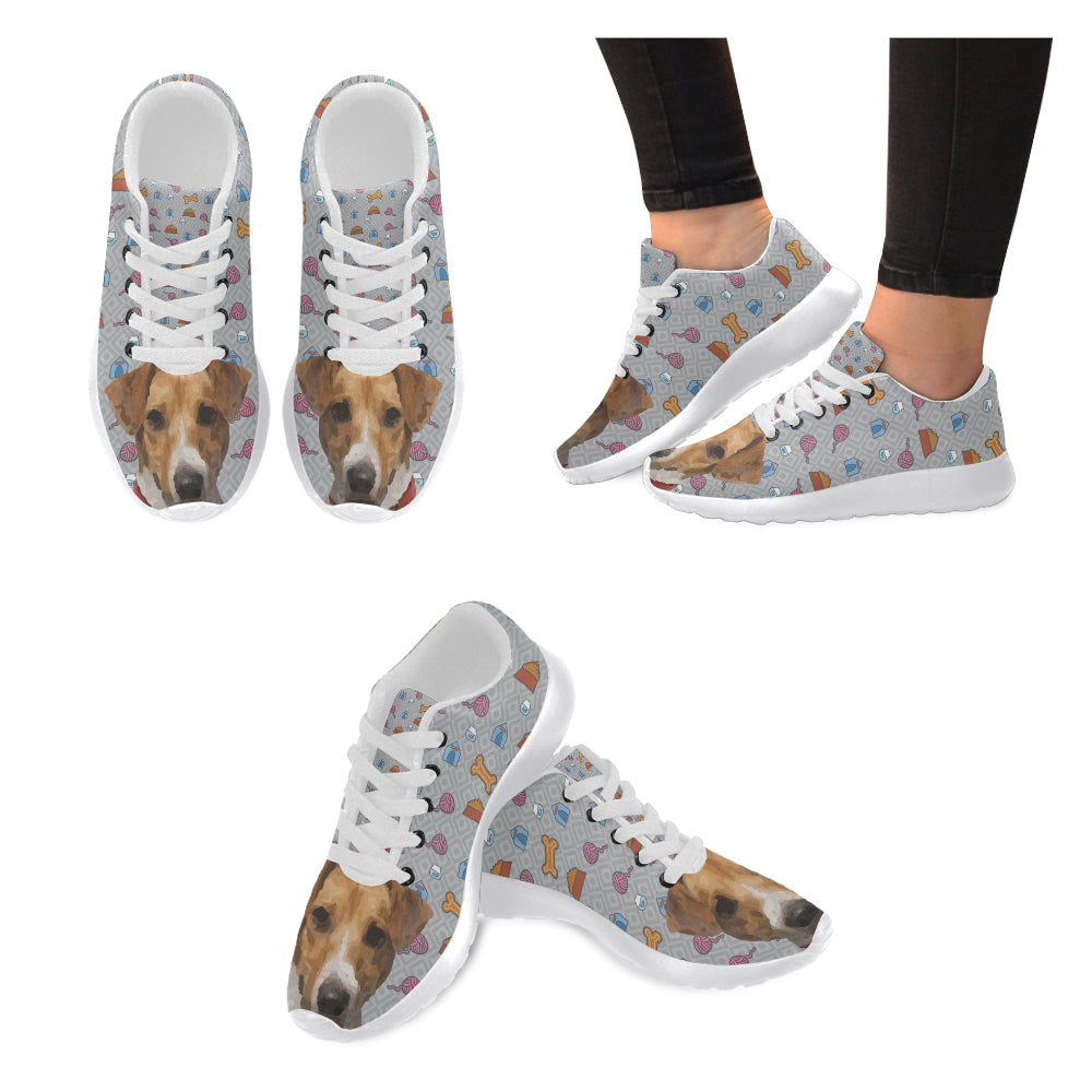 Jack Russell Terrier White Sneakers for Women - TeeAmazing