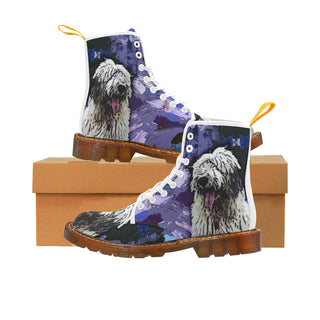 Old English Sheepdog White Martin Boots For Women Model 1203H - TeeAmazing