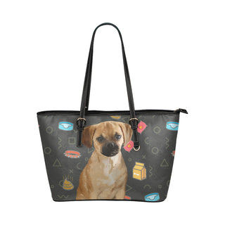 Puggle Dog Leather Tote Bag/Small - TeeAmazing
