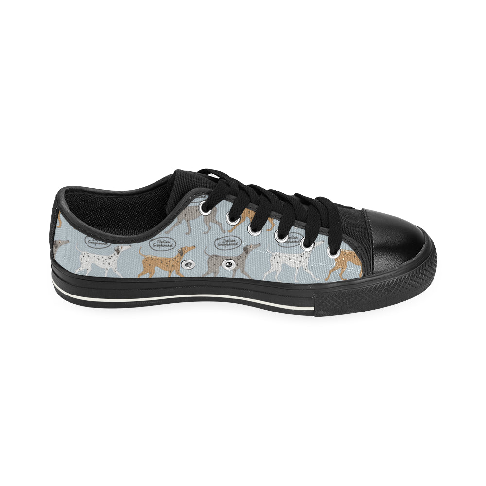 Italian Greyhound Pattern Black Low Top Canvas Shoes for Kid - TeeAmazing