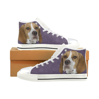 English Pointer Dog White High Top Canvas Women's Shoes/Large Size (Model 017) - TeeAmazing