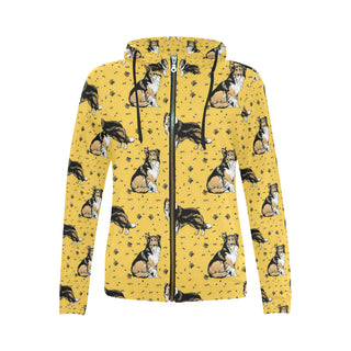 Collie All Over Print Full Zip Hoodie for Women - TeeAmazing