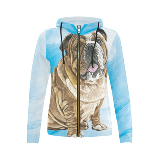 English Bulldog Water Colour No.1 All Over Print Full Zip Hoodie for Women (Model H14) - TeeAmazing