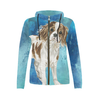 Cavalier King Charles Spaniel Water Colour No.1 All Over Print Full Zip Hoodie for Women (Model H14) - TeeAmazing