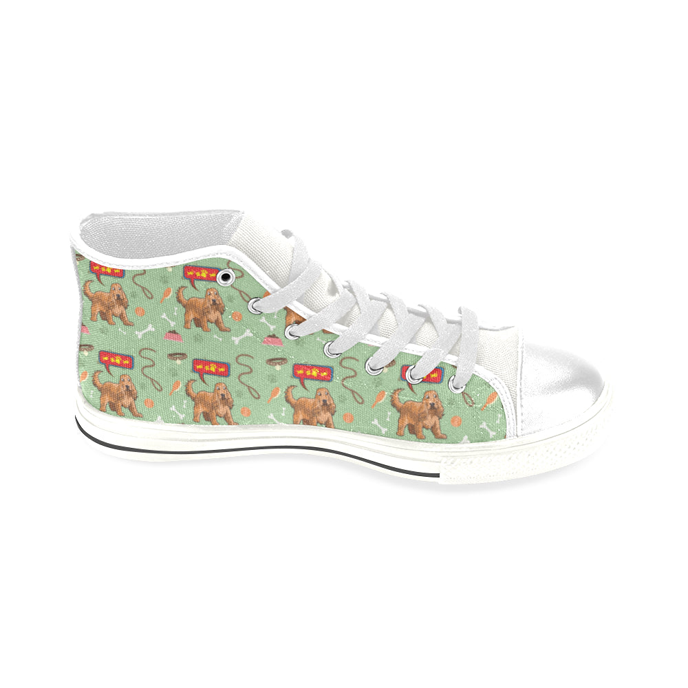 American Cocker Spaniel Pattern White Men's Classic High Top Canvas Shoes - TeeAmazing